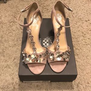 Vince Camuto Jeweled Suede Sandal
